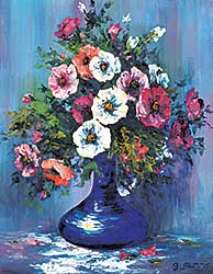 #42 ~ Jarvis - Untitled - Flowers in a Blue Vase