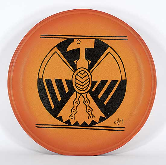 #53 ~ Odjig - Untitled - Plate with Bird Design