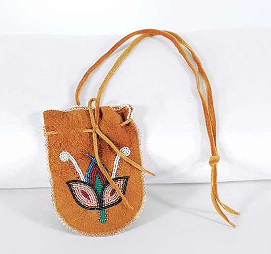 """3.5/"""" wide- 4.5/"""" tall Deer Skin Pouch with Fringe with Glass Beads"""