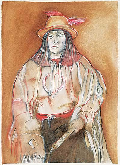 #16 ~ Cardinal-Schubert - Untitled - Portrait in Ceremonial Dress