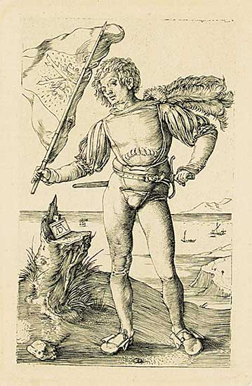 #135 ~ Durer - Untitled - Man with a Flag
