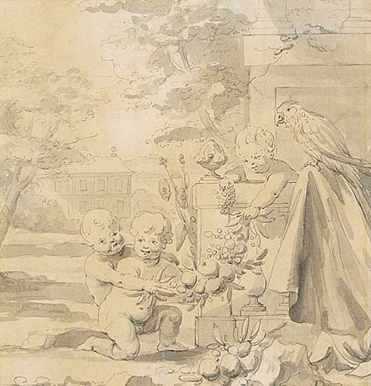 #1289 ~ Voorhoot - Putti and Parrot on a Terrace