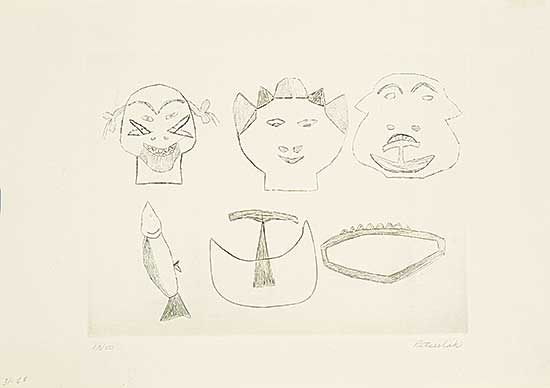 #178 ~ Inuit - Untitled - Three Tattooed Faces and Three Objects  #13/50