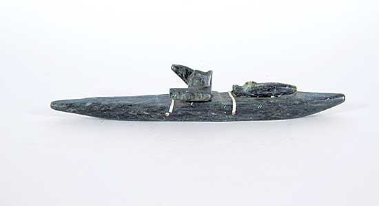 #228 ~ Inuit - Untitled - Man in Kayak with Seal