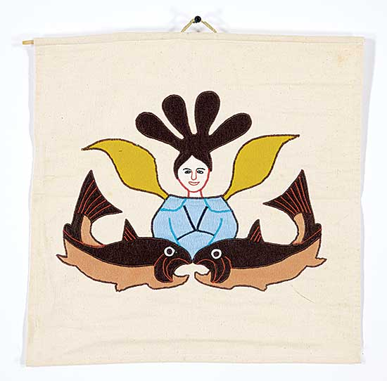 #233 ~ Inuit - Untitled - Woman and Two Fish Wall Hanging