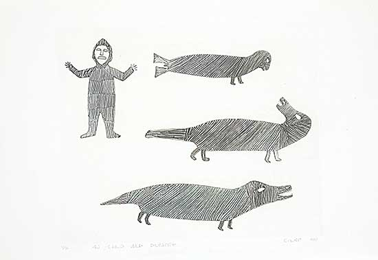 #260 ~ Inuit - Man Watching Sea Animals  #25/50