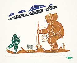 #191 ~ Inuit - Man Harpoons a Seal Through an Aglo  #11/30