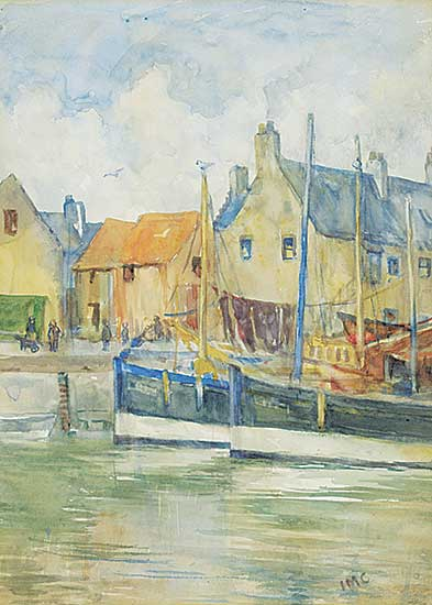 #1260 ~ School - Untitled - Boats in the Harbour