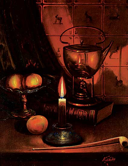 #1303 ~ Van der Poorten - Untitled - Still Life with Kettle, Fruit and Candle