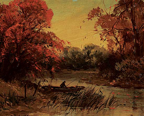 #1245 ~ School - Untitled - Fisherman at Dusk