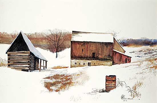 #1253 ~ School - Untitled - Barn in Winter