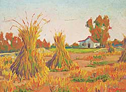 #1203 ~ Randall - Untitled - Stooks in Front of the House
