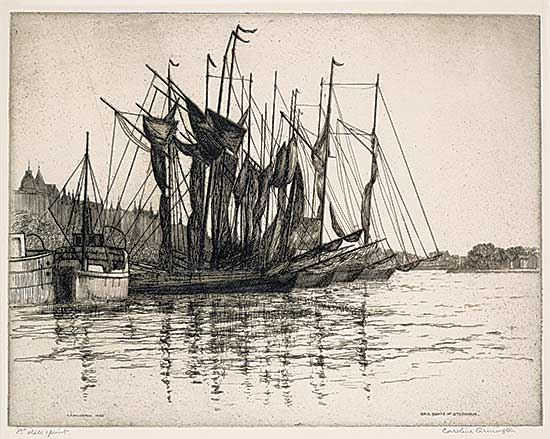 #1017 ~ Armington - Sail Boats at Stockholm  #1st state print