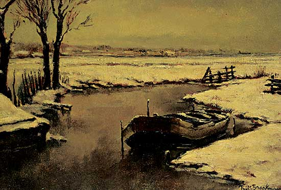 #1052 ~ Brookman - Untitled - Boat in the Snow