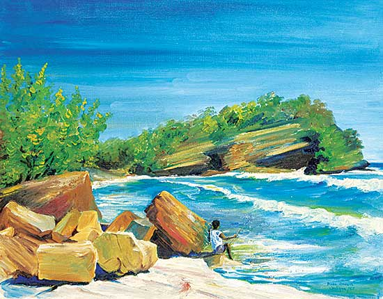 #1053 ~ Brown - Untitled - Fishing in the Cove