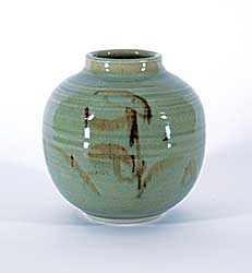 #1113 ~ Dexter - Untitled - Green Vase with Calligraphic Brown Strokes