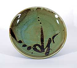 #1114 ~ Dexter - Untitled - Green Plate with Calligraphic Brown Strokes