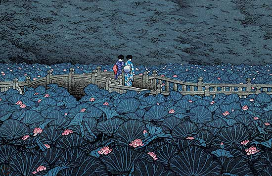 #1169 ~ Hasui - The Pond at Benten Shrine in Shiba