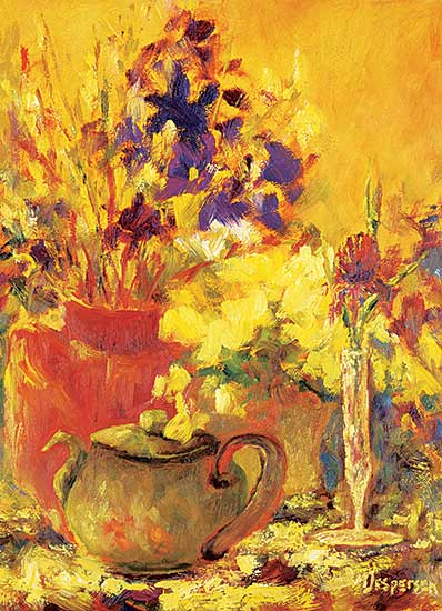 #1195 ~ Jespersen - Untitled - Teapot and Flowers