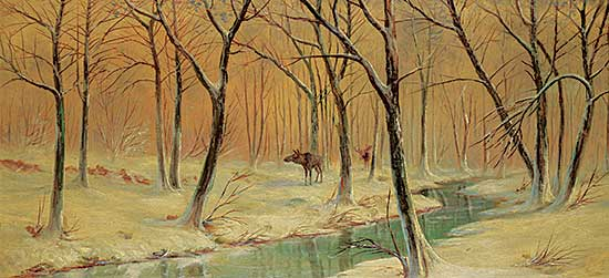 #1196 ~ Johnston - Untitled - Moose by a Winter Stream