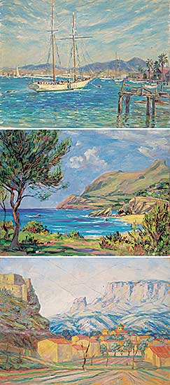 #1209 ~ Kellet - Lot of Three Paintings [Sailing Boat / Coast / Mountain Town]