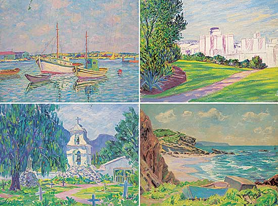 #1211 ~ Kellet - Lot of Four Paintings [Chapel / Fishing Boats / Cove / Unfinished Cityscape]