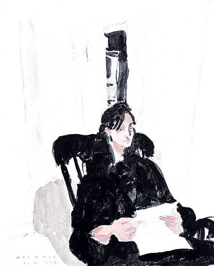 #1258 ~ McInnis - Untitled - Lady in Black Reading