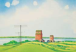 #1184 ~ Hurley - Untitled - Grain Elevators Near the Water
