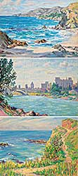 #1210 ~ Kellet - Lot of Three Paintings [River City / Flowers by the Shore / Laguna California]