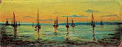 #1004 ~ Antoinette - Untitled - Boats in the Harbour at Dusk