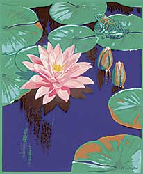 #1042 ~ Casson - Untitled - Waterlily and Frog
