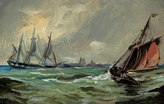 #1161 ~ Leighton - Untitled - Sailing Ships in a Choppy Sea
