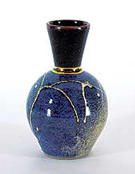 #1189 ~ McGie - Untitled - Blue, Brown and Gold Fluted Vase