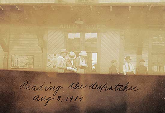 #1302 ~ School - Duke of Connaught and Princess Patricia's Tour of Western Canada - Reading the Dispatches, [White River], Aug.3, 1914