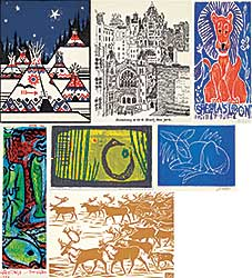 #1308 ~ School - <B>LOT OF SEVEN</B> Artist's Christmas Cards