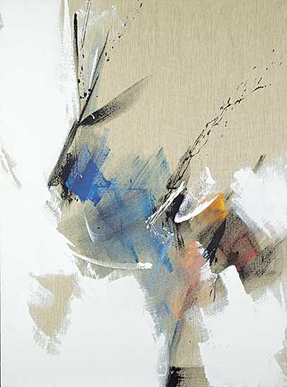 #223 ~ Miotte - Untitled - Blue, White and Black Strokes